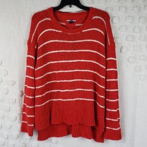 Tommy Hilfiger Red & White Striped Sweater Large